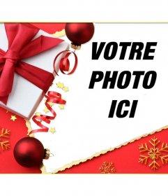 Carte de Noël avec un cadeau et une cravate pour mettre votre image