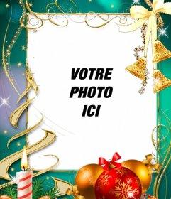 Carte postale avec des décorations de Noël pour mettre votre photo