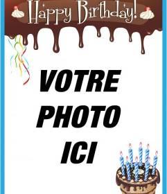 Carte Joyeux anniversaire avec le bord de chocolat fondu