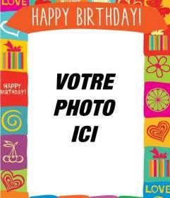 """Carte postale d""""anniversaire avec cadre de couleur à personnaliser avec vos amis et les photos de famille le jour de son anniversaire"""
