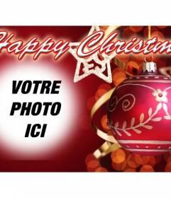 Message à féliciter Noël avec NOËL HEUREUX texte et le fond rouge avec une boule de Noël. Mettez votre photo au fond.