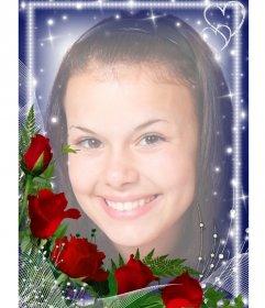 Cadre photo avec des bords lumineux orné d'un bouquet de roses.