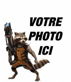 Photomontage avec Rocket Raccoon des Gardiens de la Galaxie