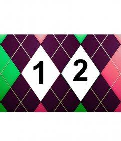 Collage de deux images avec un diamant à motifs vert, rose et violet tweed