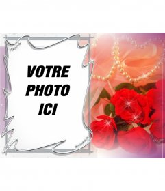 Carte postale pour la Saint Valentin personnalisable avec une photo de roses et de perles.