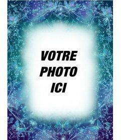 Cadre photo avec des papillons fond saphir bleu de mettre une photo