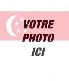 Montage de mettre Drapeau Singapour mélangé avec une photo que vous téléchargez