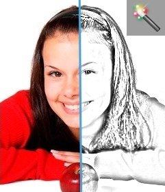 Effet en ligne crayon de dessin de style pour convertir vos photos