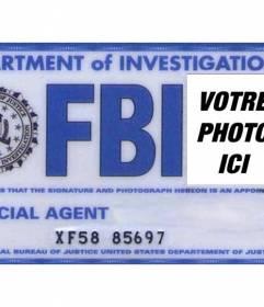"""Créez votre carte personnalisée de l""""agent spécial du FBI département d""""enquête et d""""ajouter votre photo, votre nom et prénom"""