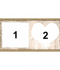 Cadre pour deux photos avec des bords en forme de cœur et de la place de papier. Ajouter deux images et vous pouvez envoyer ou enregistrer la configuration personnalisée