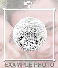 Autocollant dune boule disco pour décorer vos photos avec une atmosphère très festive