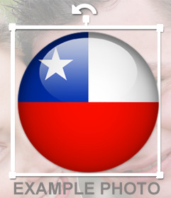 Bouton avec le drapeau du Chili pour décorer vos photos
