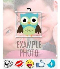 Autocollant dun hibou à mettre sur vos photos avec léditeur en ligne sur