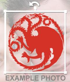 Si vous êtes de la maison Targaryen puis mettre cet autocollant sur le logo de vos photos de Targaryen Maison de Game of Thrones tv serie avec le dragon à trois têtes à mettre sur vos images avec cet effet libre