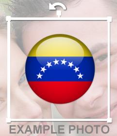 Autocollant dune feuille avec le drapeau du Venezuela pour vos photos