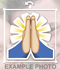 Autocollant de lemoji avec les mains pour prier