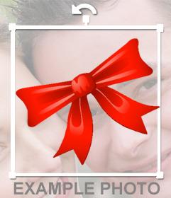 Autocollant dun arc rouge de Noël à mettre sur vos photos