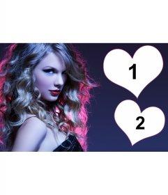 Collage pour deux photos avec une photo de Taylor Swift