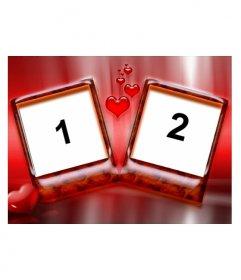 Cadre pour deux photos avec un fond rouge et les cœurs. Idéal pour les amoureux le jour de Valentines. Très élégant