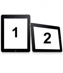 Mettez-vous dans deux cadres simple. Envoyez deux photos pour ce montage dans lequel les images apparaissent sur deux cadres photo numériques sur un fond blanc
