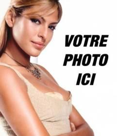 Modèle de votre montage photo avec des personnages populaires et des célébrités. Téléchargez votre photo et rester près d'Eva Mendes, mannequin et actrice. Il est facile!