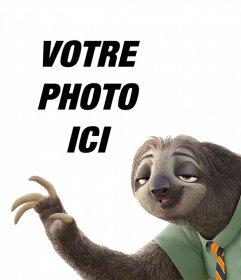 Effet photo avec le paresseux de Zootopia pour télécharger votre photo