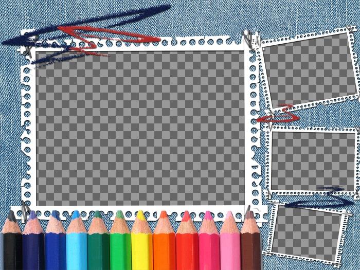 """Idéal pour le retour à l""""école de fond en denim et crayons de couleur. Votre image apparaît dans le cadre d""""image avec des bandes de portable"""
