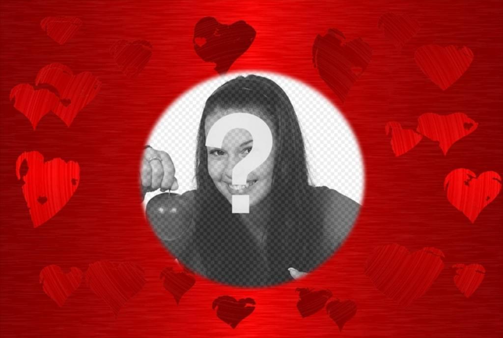 Fond rouge avec des cœurs dans diverses nuances de la même couleur au centre de laquelle est un cercle dans lequel le cadre de votre photo préférée