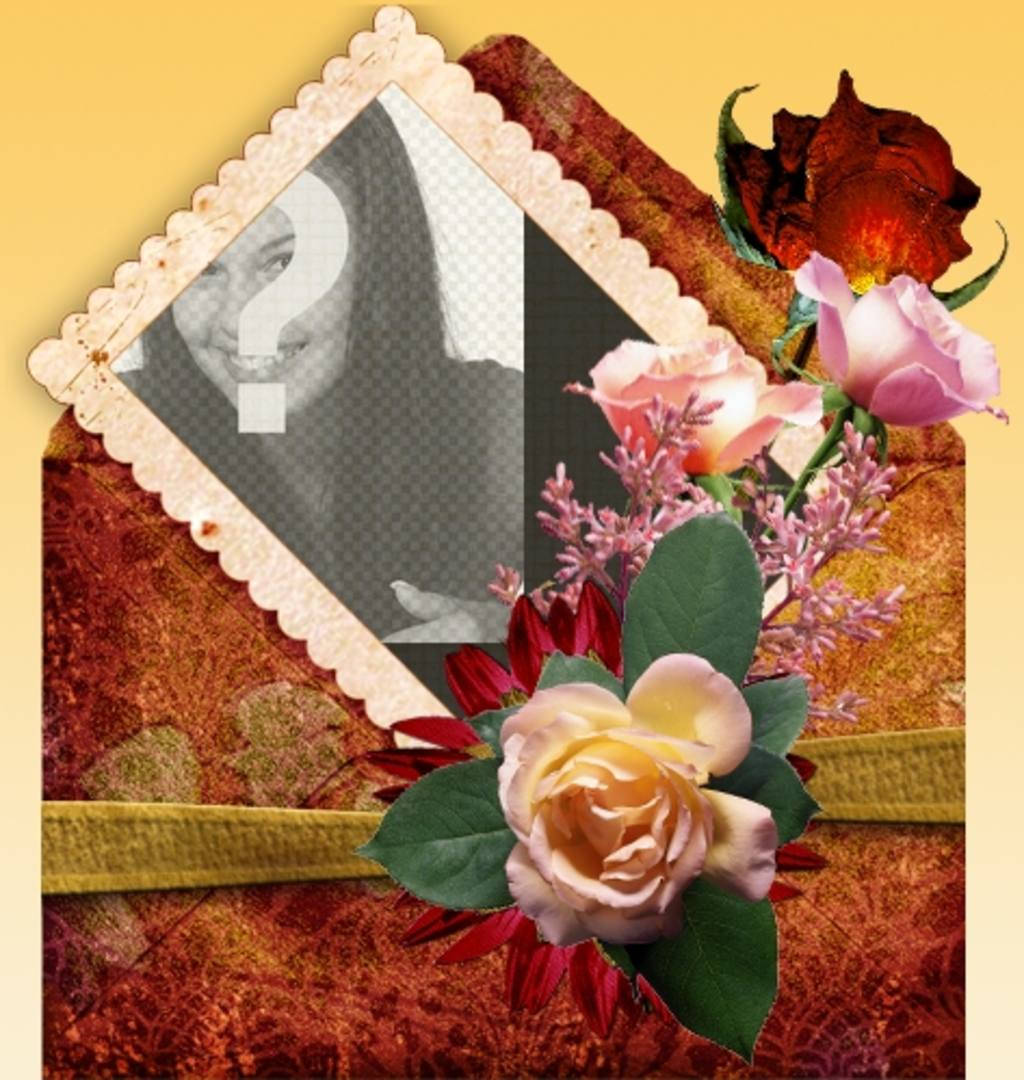 Cadre photo avec fond orange et décoré avec des roses