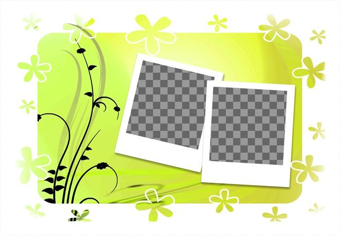 Décorez vos photos avec ce modèle pour deux photos, fond vert et le style des cadres polaroid. Envoyer deux images, de suivre quelques étapes simples et télécharger ou envoyer pour la composition photographique libre