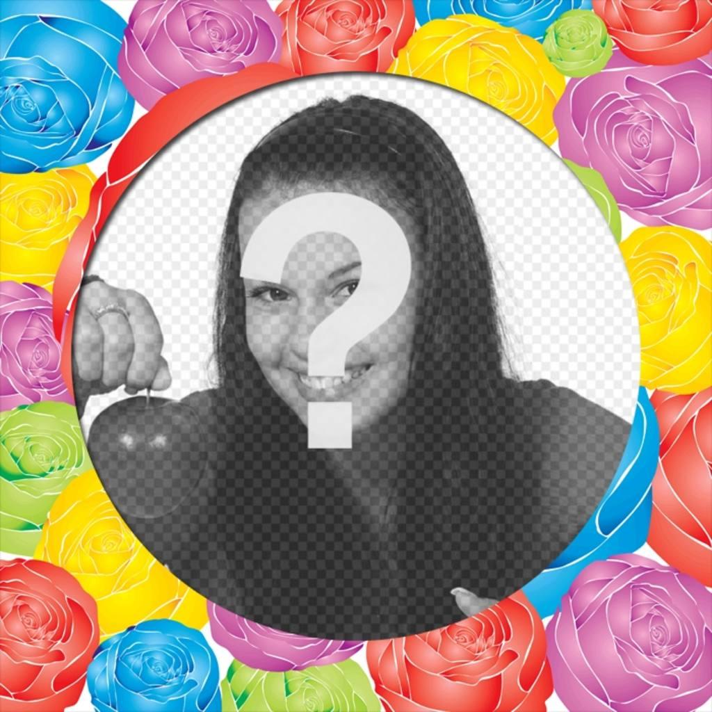 """Décorez une photo pour ce cadre photo ronde avec des roses de différentes couleurs. Vous pouvez l""""envoyer par e-mail ou le télécharger gratuitement"""