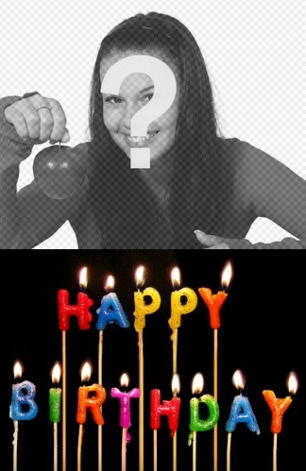 """Modèle pour créer une carte d""""anniversaire personnalisé avec votre photo, vous pouvez télécharger d""""ajouter ces bougies avec le texte couleurs de l""""anniversaire. Votre photo apparaîtra dans l""""arrière-plan"""