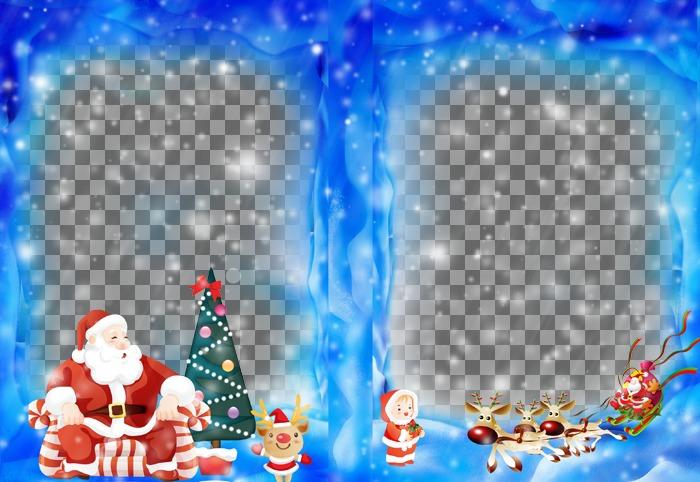 Mettez deux de vos photos sur un cadre de Noël avec le Père Noël