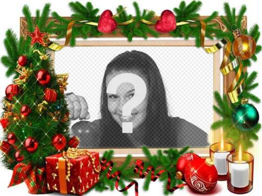Un cadre pour les photos avec des décorations de Noël