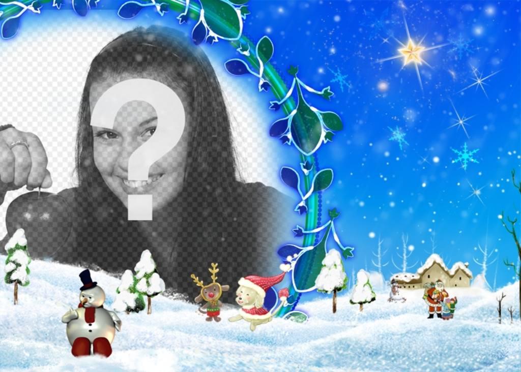 Paysage De Noel A Imprimer.Cadre Photo Neigeux Paysage Floral De Noël Dans Lequel On