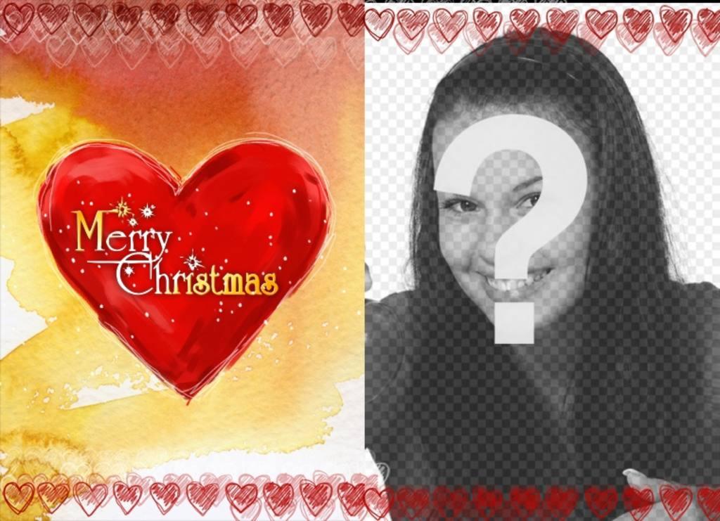 Cadre photo Carte de Noël avec un cœur sur lequel est écrit Merry Christmas