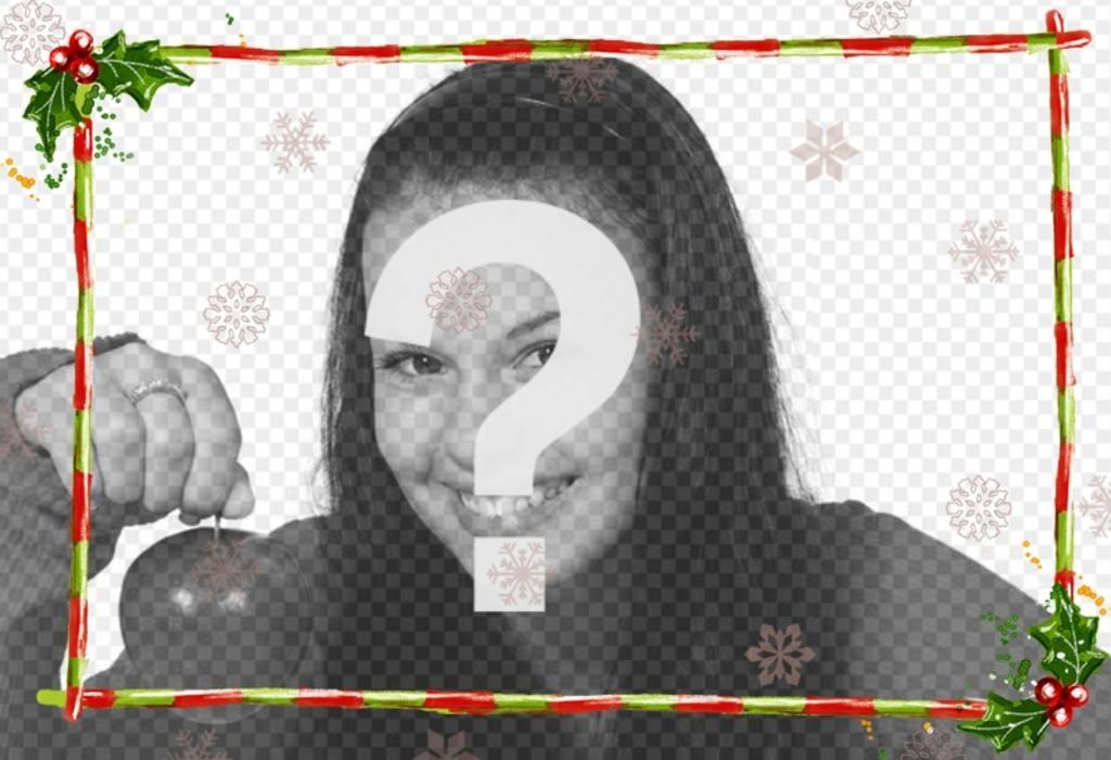 """Modifier une image à partir de cette page avec ce modèle pour photomontage composé d""""une partie discrète de Noël, pour une photo en largeur. Guirlandes et barres vertes avec des rayures rouges"""