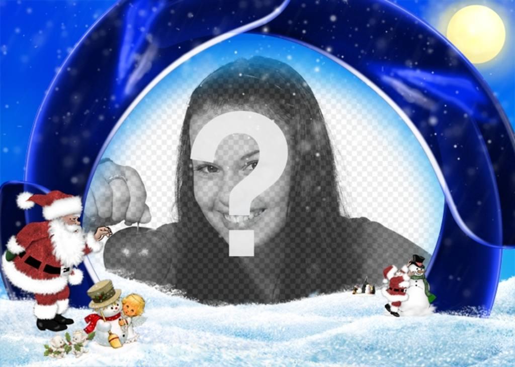 Carte de Noël fond bleu et la neige dans laquelle vous souhaitez insérer votre image, sont le Père Noël, un garçon et des bonhommes de neige