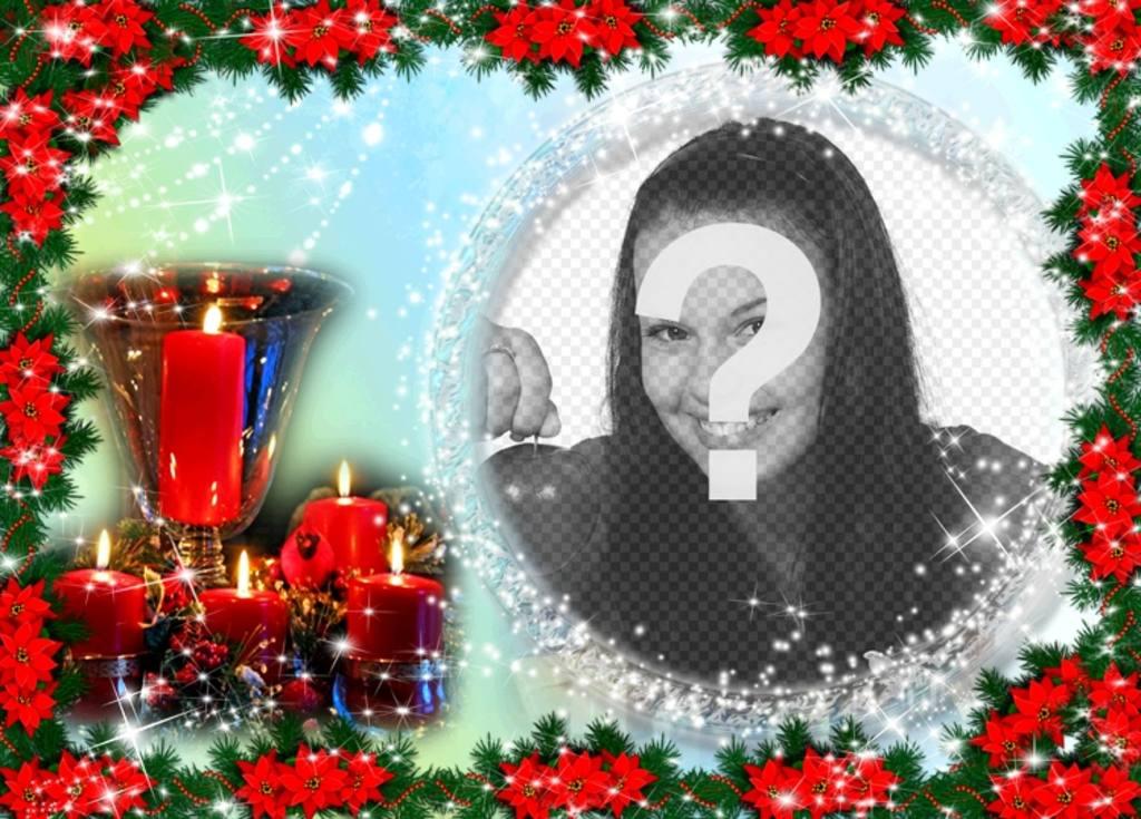 """Carte de Noël où vous avez mis une image dans un cadre rond entouré de perles brillantes. La couleur de fond varie du bleu clair au vert et la composition est Poinsettias bords enduits, plante typique de Noël rouge. Nous voyons aussi un centre de table composé d""""un gobelet d""""or entouré de quatre cierges allumés incarnés. Comme un rappel d""""une journée spéciale des fêtes"""