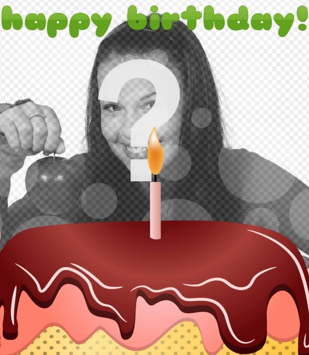 Carte postale danniversaire avec un gâteau et joyeux anniversaire en vert