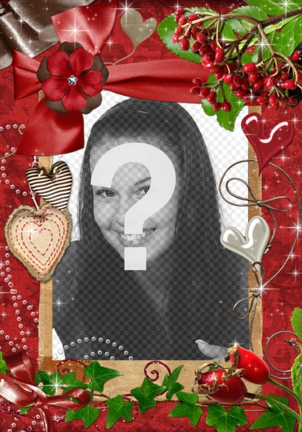 Red cadre rectangulaire pour une photo. Nous motifs et les cœurs de perles et de tissu. Pour compléter la Saint-Valentin en tant que complément à votre cadeau