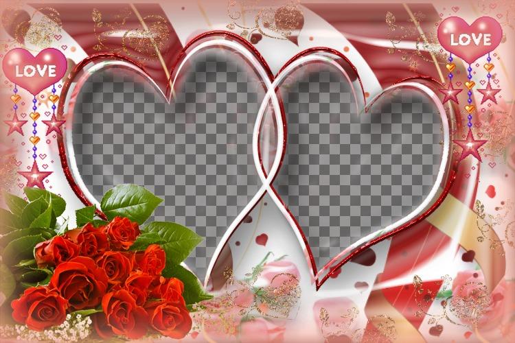 Très élaborée cadre photo avec des roses et des coeurs
