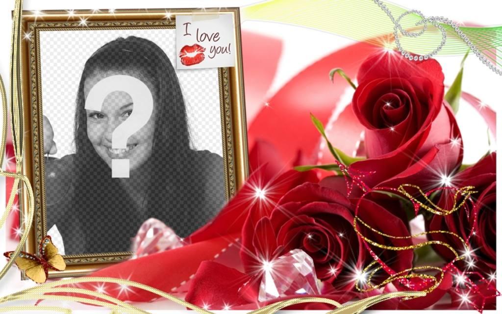"""Amour de carte à mettre l""""image que vous voulez avec une boîte avec un postit avec un baiser et le texte I LOVE YOU!"""