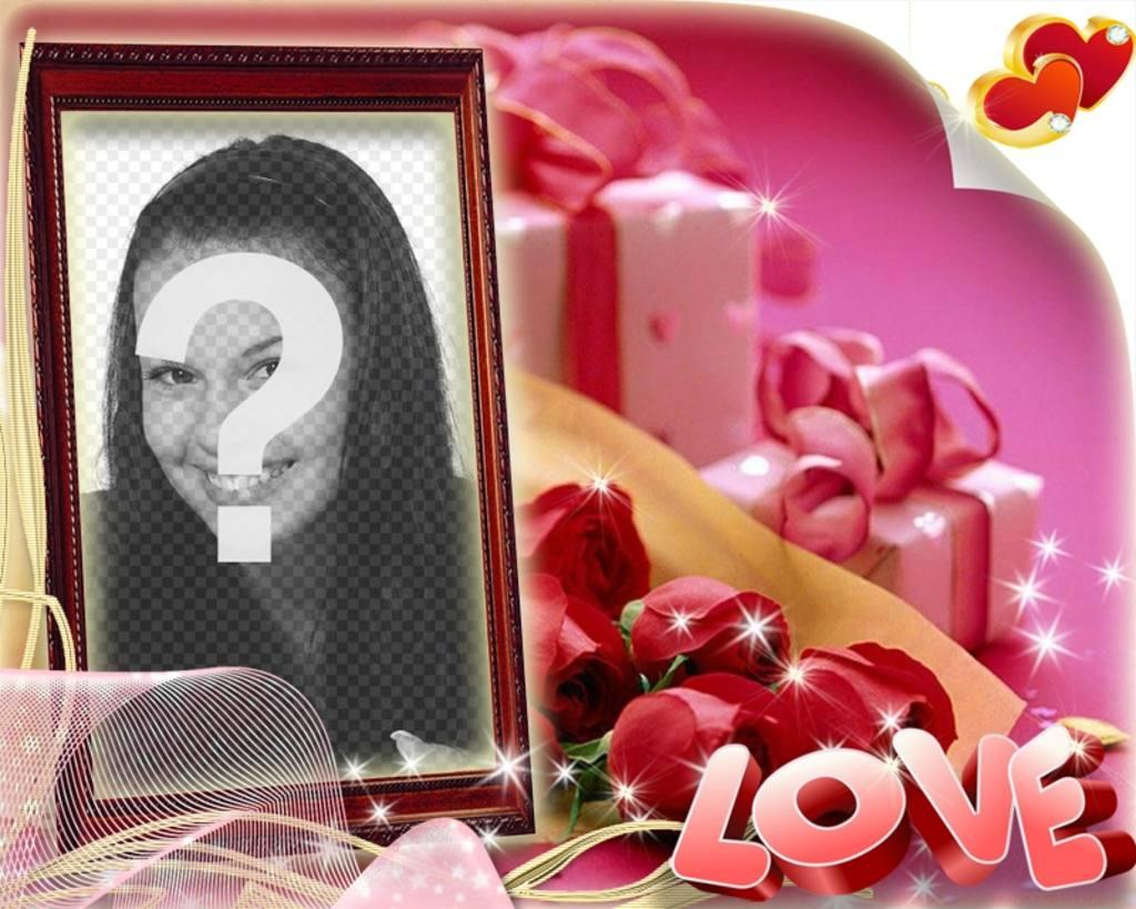 Carte postale en forme de boîte de la Saint-Valentin avec un fond rose avec LOVEdu texte