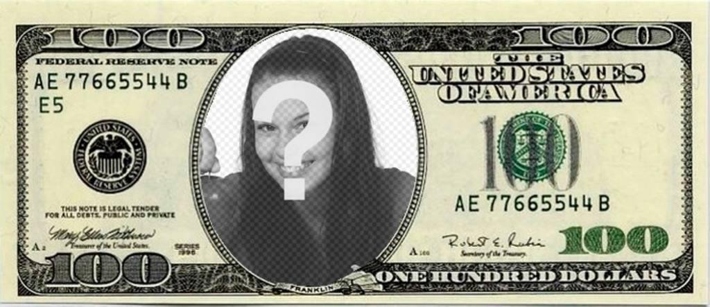 """Montage photo d""""un billet de 100 dollars pour mettre votre photo à l""""intérieur et épater vos amis"""