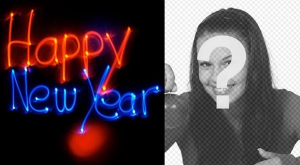 """Félicite la nouvelle année avec une animation avec des lettres de néon avec votre photo d""""arrière-plan"""