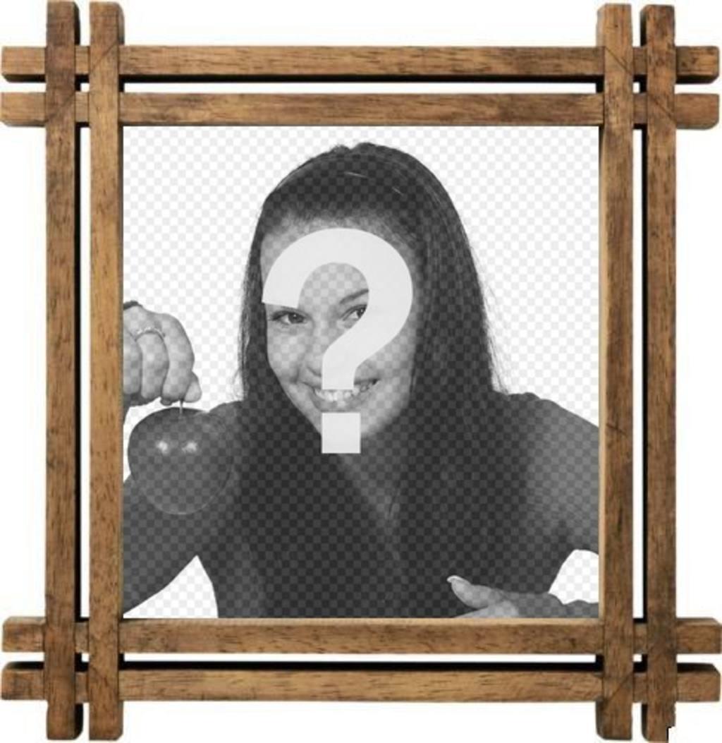 Cadre photo avec bordures en bois, pour personnaliser votre photo