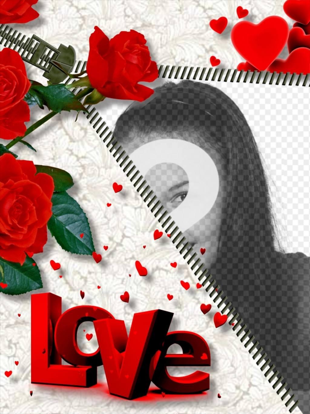 Cadre photo en ligne LOVE , qui comprend la photo que vous voulez tout en ouvrant une fermeture à glissière. Roses ornent assemblage