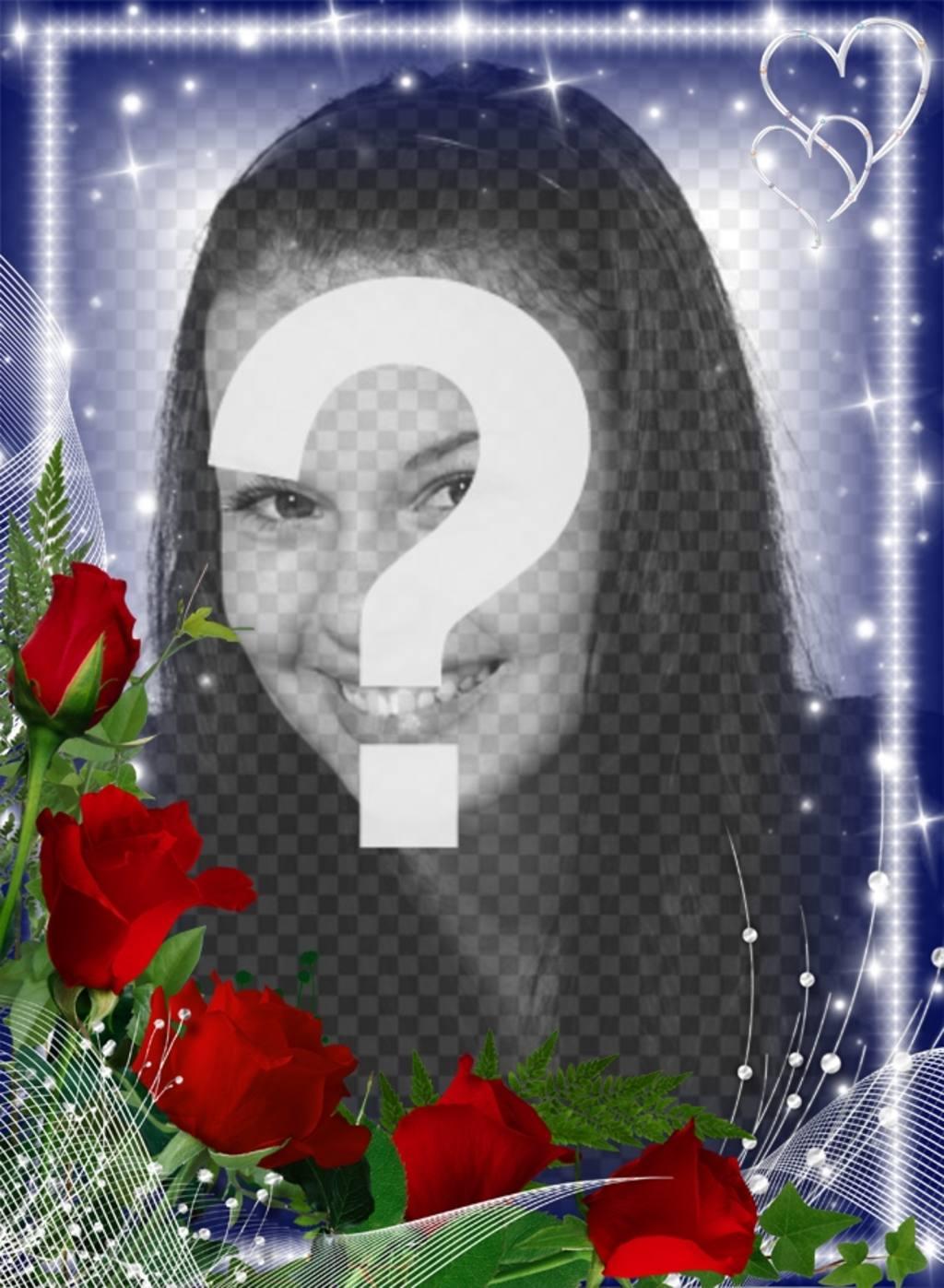 """Cadre photo avec des bords lumineux orné d""""un bouquet de roses"""