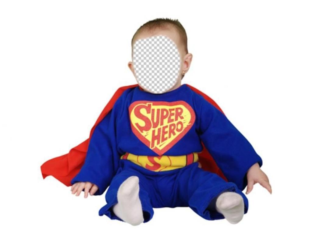 Habillez votre bébé avec cet appel doffres photomontages de Superhero bleu avec cape rouge